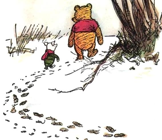 Image result for winnie the pooh following footprints